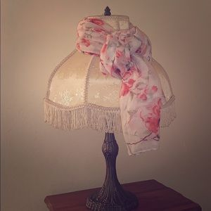 Pink and White Floral Scarf